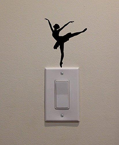 YINGKAI Ballet Dancer Dancing on Light Switch Decal Vinyl Wall Decal Sticker Art Living Room Carving Wall Decal Sticker for Kids Room Home Window Decoration (Switch Decal Light)