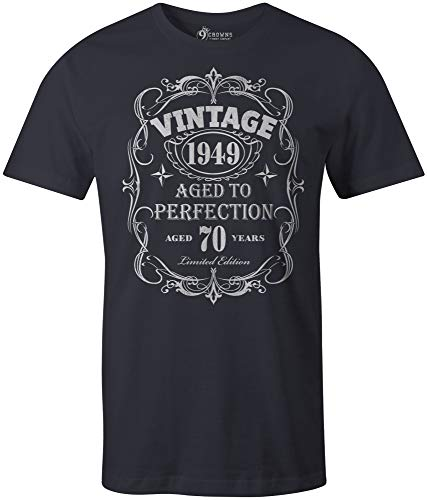 9 Crowns Tees Men's Vintage 1949 Aged to Perfection 70th Birthday T-Shirt-Navy-Large (Vintage 1949 Print)