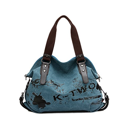 Chikencall Women Ladies Bags Casual Vintage Hobo Canvas Mulit-Pocket Daily Purse Messenger Top Handle Shoulder Large Tote Shopper Handbag Shopping Graffiti European Style Bags-Blue ()