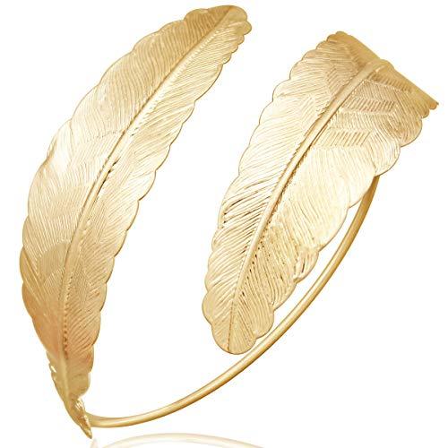 RechicGu Gold Indian Swirl Leaf Arrow Carved Feather Bracelet Armband Upper Arm Cuff Armlet Bridal
