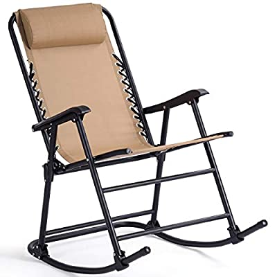 Goplus Folding Rocking Chair Recliner w/Headrest Patio Pool Yard Outdoor Portable Zero Gravity Chair for Camping Fishing Beach