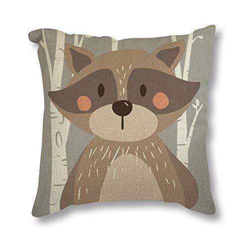 Tribu Woodland Animal Oso Fox Imprimir Lino Cojín Almohada ...