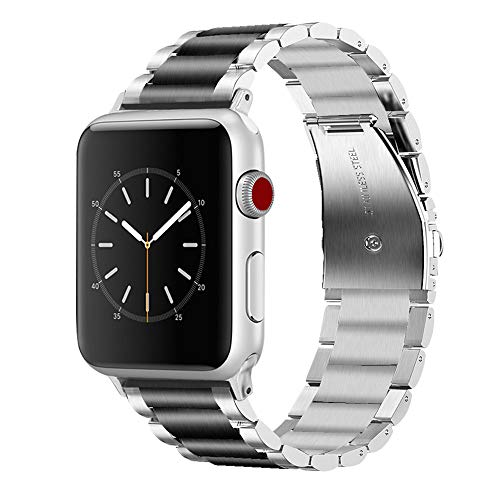 Vigoss Compatible Apple Watch Bands 38mm Men, Solid Stainless Steel Apple Watch Band Metal Edition Strap Business Replacement Bracelet for iWatch Series 3/2/1 Sport Large Small (Silver/Black, 38mm)
