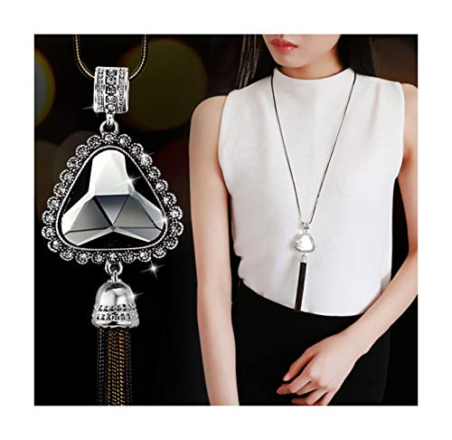 (Nataliya Triple Layer Pendant Necklace (Triangle Pendant Tassel Necklace))