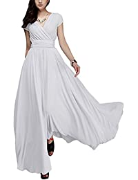 d7e9743377ef Women s Boho Solid Chiffon V-Neck Cocktail Bridesmaid Evening Party Gown  Ball Prom Long Maxi
