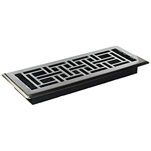 Decor Grates AJH412-NKL 4-Inch by 12-Inch Oriental Floor Register, Brushed Nickel