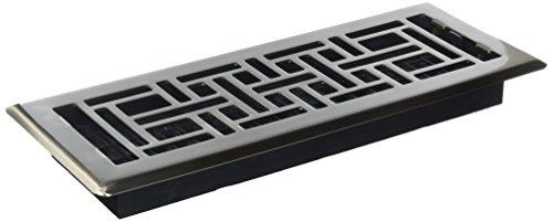 Decor Grates AJH412-NKL 4-Inch by 12-Inch Oriental Floor Register, Brushed Nickel - 12 X 12 Floor
