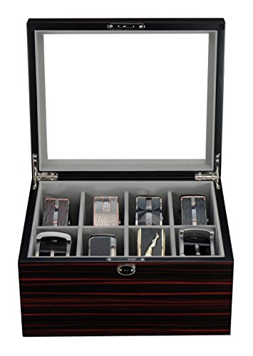 - Ebony Wood Display Case for 8 Belts and Accessories Storage Box