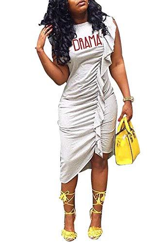 (LAJIOJIO Women Sexy Sleeveless Letter Print Bodycon Irregular Ruffle Midi Dress Clubwear Grey Small)