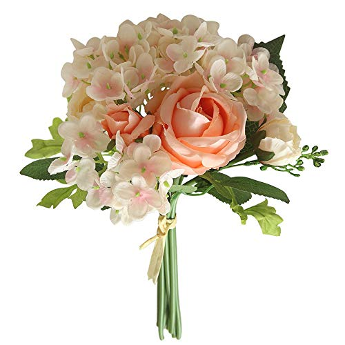Smorran Rayon Fake Flower Rose Bunch Artificial Flower Bouquet Peony Flower Wedding Bouquet Bride Hydrangea -