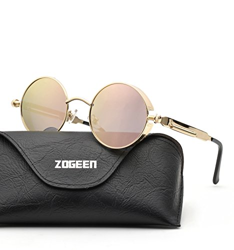 ZOGEEN Polarized Steampunk Round Sunglasses for Men Women Mirrored Lens Metal Frame S2671 (Pink - Mirrored Sunglasses Oval