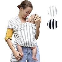 FULAR REBOZO ELASTICO 100% ALGODON PREMIUM BABY WRAP CON BOLSO DE VIAJE Y MANUAL DE (RAYAS GRIS)