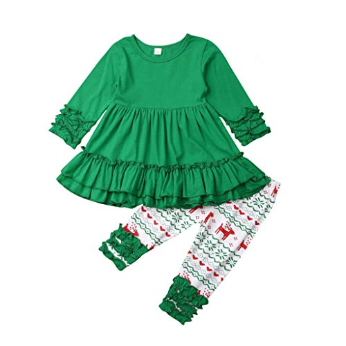 Toddler Girl Clothes,Baby Christmas Ruffle Mandarin Sleeve Layered Dress Elk Pants Outfit,Girls Outfits Infant