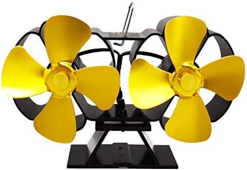 暖炉ファン8ブレード加熱式ストーブファン暖炉ファンツインモーターWoodストーブファン,イエロー