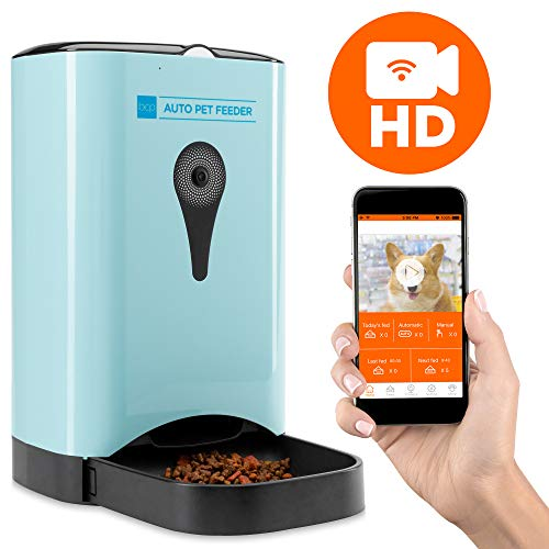 Best Choice Products Smart Automatic Pet Feeder w/HD Camera, Wi-Fi Enabled Smartphone App, Portion Control, 4.5L Food Capacity, 2-Way Audio Voice Recorder Microphone, Blue, for Cats and Dogs