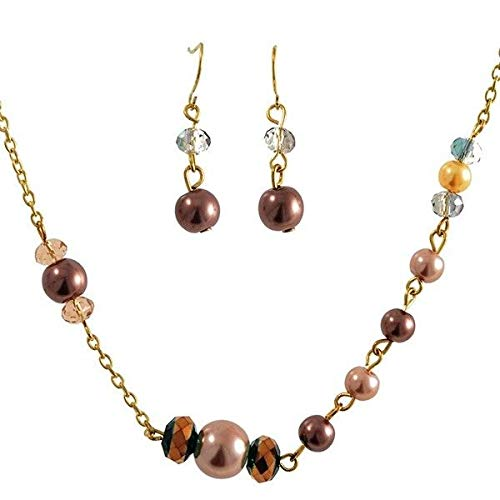 62 Long Bronze Brown Clear Crystal Bead Gold Tone Necklace Earrings Set id-3108