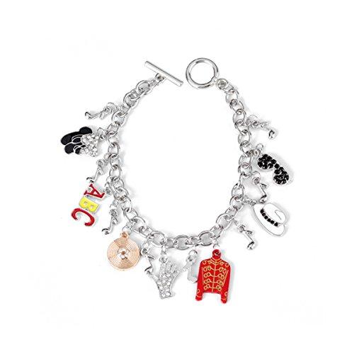 Michael Jackson Themed Metal/Enamel Silvertone Charm Bracelet (Michael Jackson Charm Bracelet)
