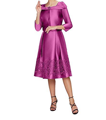 Ballkleider Langarm Festlichkleider La Abendkleider Spitze Bolero Pink Partykleider mia Braut 2018 Applikation WvSc86W