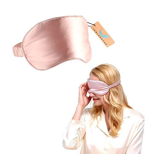 Jenleestar Natural Silk Sleep Eye Mask - 100% of the Blindfolded Sleep Mask, Soft Eye Cover Eyeshade for Night Sleeping, Travel, Nap - Best Night Blinder Eyeshade for Men Women (pink)