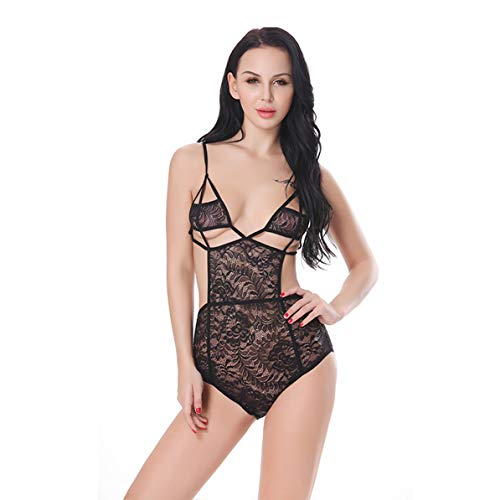 Women Sexy Hot Babydoll Lace Hollow Out Transparent Lingerie Suspender Siamese Costume Sleepwear Bodysuit]()