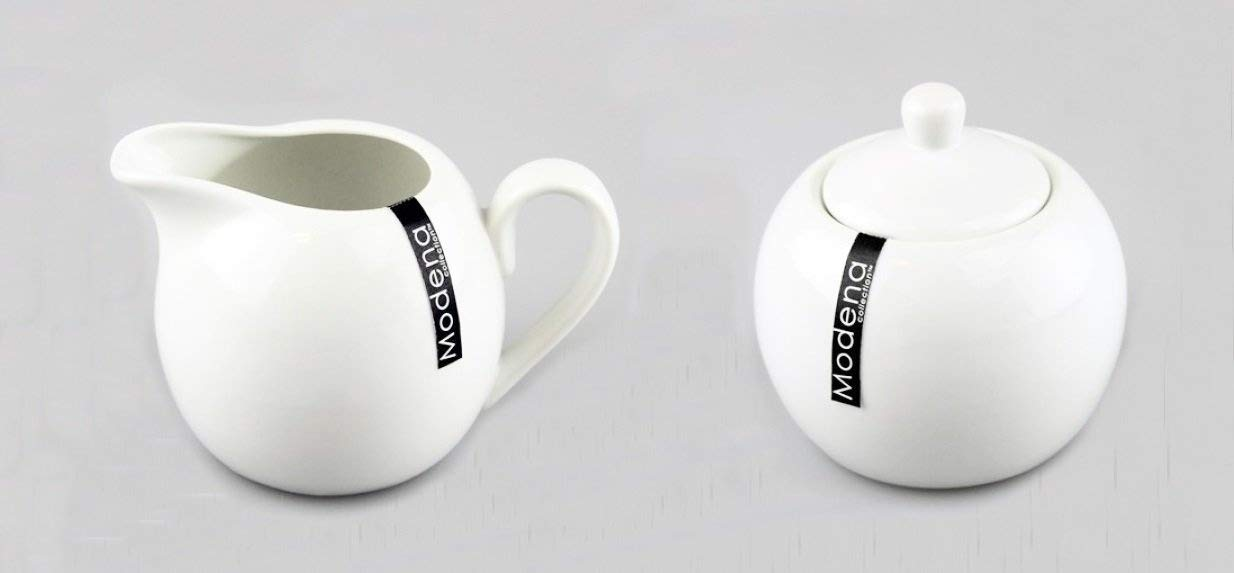 White Porcelain 350ml Milk Cream Serving Jug Creamer & Sugar Bowl Pot Set Modena