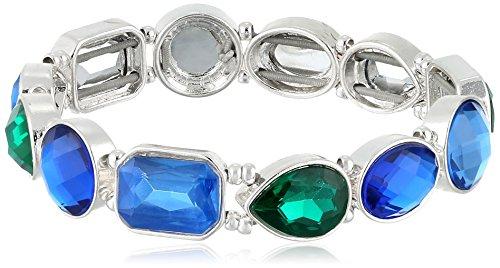 "Nine West ""Party Time"" Silver-Tone Multi Blue Stretch Bracelet"
