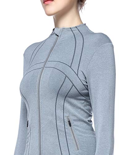 DISBEST Women's Athletic Jackets, Stretchy Performance Full-Zip Workout Yoga Sports Coats with Thumb Holes Light Grey