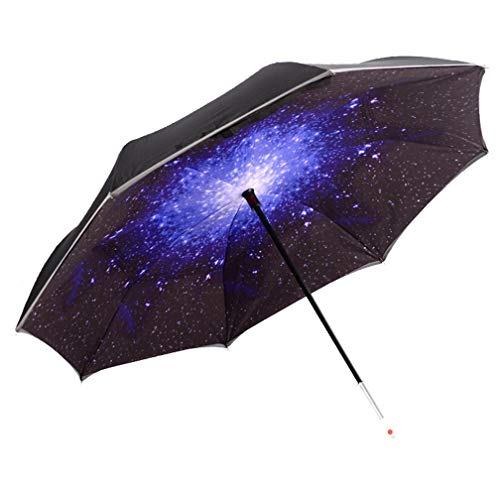 HaiYI LED Inverted Umbrella,Double Layer Car Reverse Umbrella,Windproof and UV Protection,Self Standing SOS Caution Warning Light,Reflective Piping Safe Straight Rain Umbrella for Outdoor (Star)