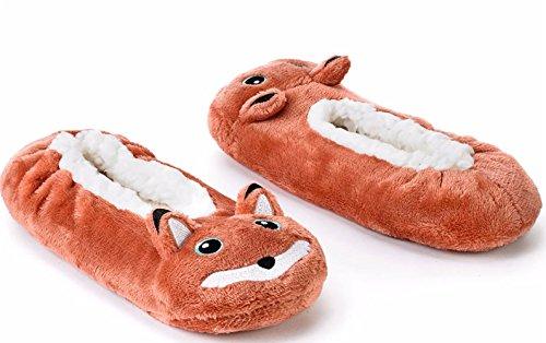 Calzini Di Pantofole Sfilate Di Babba Delle Donne Pelose Critter Fox Di Volpe
