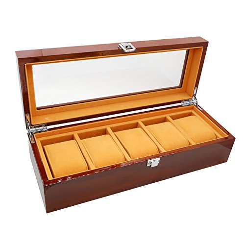 Amazon.com: The perseids Watch Display Box Storage Wooden 5 Slots Luxury Bracelet Case with Delicate Patterns Gentle Faux Leather Inside for 5 Watches ...