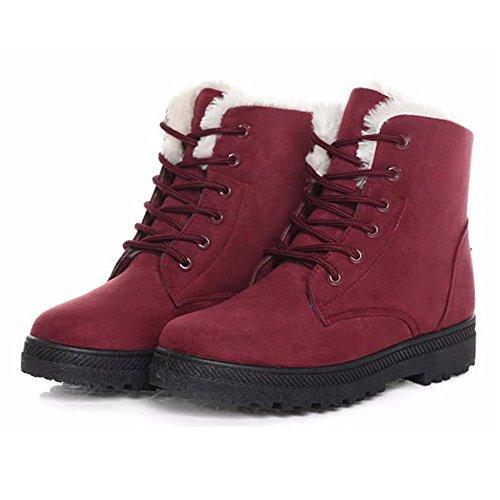 Frau Winterstiefel warme Stiefel - Damen Schlupfstiefel Schneestiefel - Winter Schuhe Gepolsterten Schuhe Gummi Fußsohlen 2-Rote
