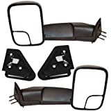 Pair of 1994-2001 Dodge Ram 1500, 1994-2002 Dodge Ram 2500 3500 Pickup Truck Manual Towing Tow with Support Brackets Mirror Left Driver and Right Passenger Set(1994 94 1995 95 1996 96 1997 97 1998 98 1999 99 2000 00 2001 01)
