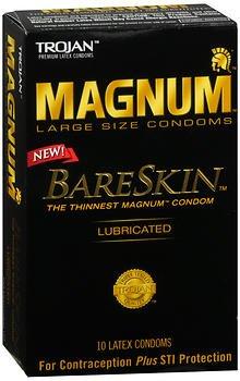 Trojan Magnum BareSkin Lubricated Latex Condoms - 10 ct, Pack of 4 - Lubricated Magnum Latex Condoms