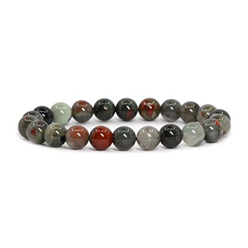 (Natural African Bloodstone Gemstone 8mm Round Beads Stretch Bracelet 7