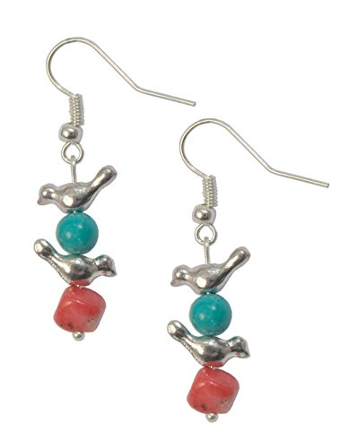 Earrings, Southwestern Zuni Style Bird Magnesite Turquoise Gemstone+ Coral Dangle Earrings + FREE GIFT BAG