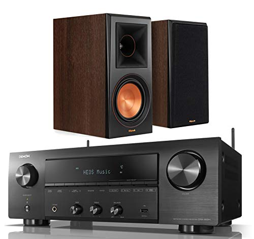 Denon DRA-800H 2-Channel Home Audio/Video Stereo Receiver Bundle with Klipsch RP-600M Reference Premiere Bookshelf Speakers - (Pair) Walnut (Dra Denon)