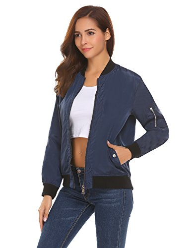 Finejo Women Short Biker Bomber Jacket Zip up Classic Quilted Coat Outwear