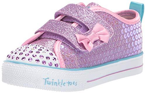 Skechers Kids Girls' Shuffle LITE-Mini Mermaid Sneaker, Lavender/Multi, 10 Medium US Toddler (Skechers Girl Shoes Light Up)