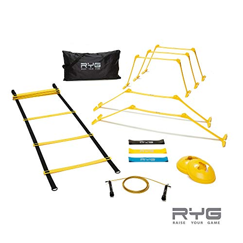 Raise Your Game RYG Speed Agility Training Set- Ladder, Cones, Hurdles, Explosiveness, Resistance, Exercise Equipment, Soccer, Football, Track Field, Basketball, Footwork, Workout Drills, Sport Train (Best Exercise Equipment For Kids)