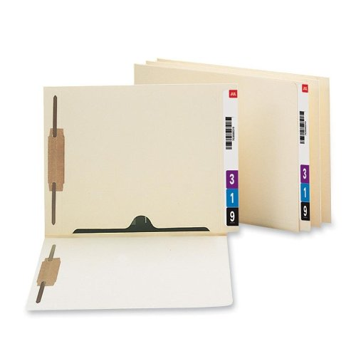 Smead End Tab Fastener File Folder with Full Pocket, 2 Fasteners, Reinforced Straight-Cut Extended Tab, Letter Size, Manila, 50 per Box (34101) (File Tab End)