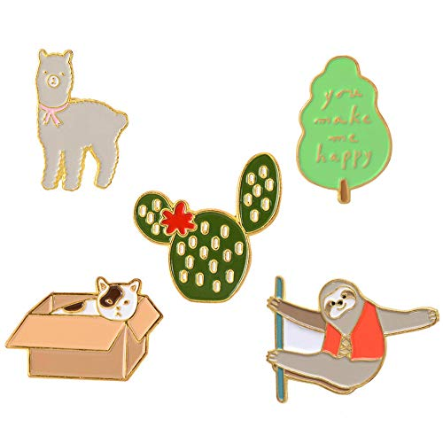 - Cute Enamel Lapel Pins Sets Cartoon Animal Plant Fruits Foods Brooches Pin Badges for Clothing Bags Backpacks Jackets Hat DIY (Sloth alpaca cat cactus leaf Set of 5)