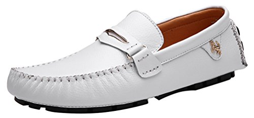 Abby 3237 Mens Sneakers Style Casual Slip-on Moccasins Driving Loafers White xBToWCj