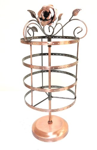 72 Pairs/144 Holes Rose on Top Rotating Earring Holder / Earring Tree / Earring Oraganizer / Earring Stand / Earring Display - Antiqued Rose Ring