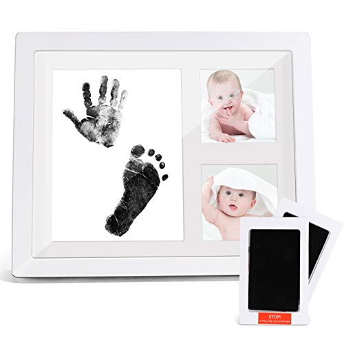 (Baby Handprint Kit, Sungwoo Baby Footprint Kit Picture Frame with 2 Ink Pads, Baby Keepsake Photo Frames for Newborn Girls & Boys Shower Registry, Personalized Baby)