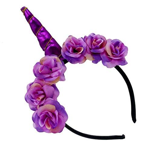 Headband Kids Girls Flowers Headbands Headwear for Party (Purple) (Elephant Ears Flower)