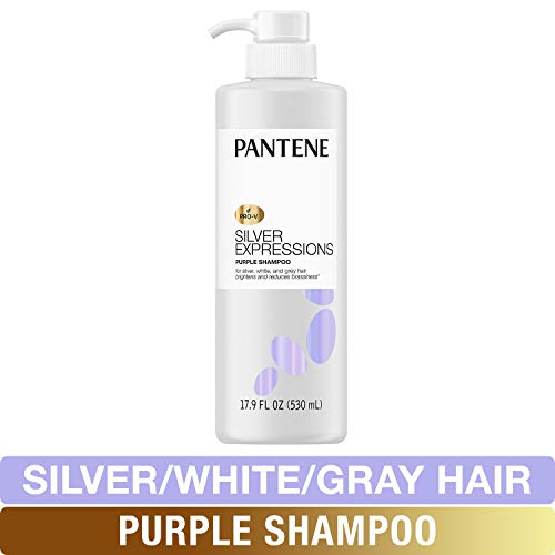 Pantene Silver Expressions, Purple Shampoo and Hair Toner, Pro-V for Grey and Color Treated Hair, Paraben Free, Lotus Flowers, 17.9 Fl Oz (Gray Hair Remove Shampoo)