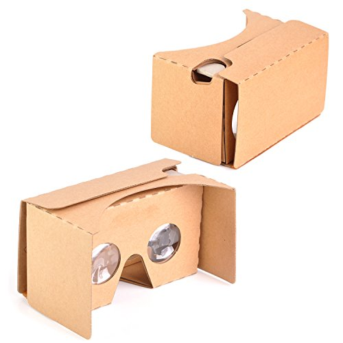 """KR-NET® Google Cardboard V2.0 - VR Virtual Reality 3D Glasses Camera Headset Capacitive Touch Button Control DIY Kit for Large Smart Phone Galaxy Note 5 S7 Edge LG G5 iPhone 6/6S Plus 5.7"""""""