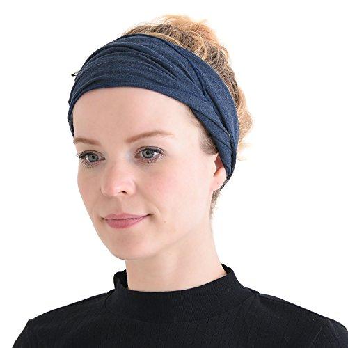 CHARM mens Elastic Bandana Headband Japanese Long Hair Dreads Head wrap Mix Navy