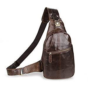 Men's Cow Leather Sling Crossbody Shoulder Casual Camping Hiking Messenger Backpack Chest Bag (Brown)