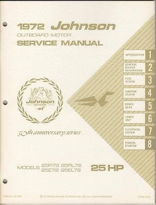 1972 JOHNSON OUTBOARD MOTOR SERVICE MANUAL 25 H.P. - Johnson Outboard Motor Service Manual